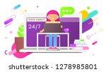 support concept 24 7   woman... | Shutterstock .eps vector #1278985801