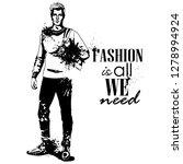 man model dressed in jeans ... | Shutterstock . vector #1278994924