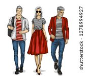 woman and two man models ... | Shutterstock . vector #1278994927