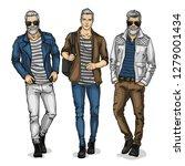 man models dressed in jeans ... | Shutterstock . vector #1279001434