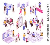 isometric set with people... | Shutterstock .eps vector #1279011754