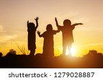 asian little girls. silhouette... | Shutterstock . vector #1279028887