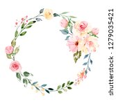 Wreath, floral frame, watercolor flowers, peonies and roses, Illustration hand painted. Isolated on white background. Perfectly for greeting card design.