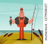 happy fisherman. cartoon style. ... | Shutterstock .eps vector #1279038157