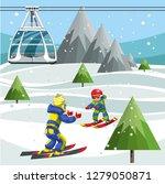 cartoon skiers on ski lift... | Shutterstock .eps vector #1279050871