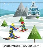 cartoon skiers on ski lift... | Shutterstock .eps vector #1279050874