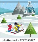 cartoon parents and little kids ... | Shutterstock .eps vector #1279050877