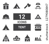 tent icon set. collection of 12 ... | Shutterstock .eps vector #1279080847