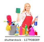 mature female cleaner posing... | Shutterstock . vector #127908089