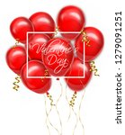 valentine day red balloons card ... | Shutterstock .eps vector #1279091251