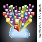 colorful app store with cloud.... | Shutterstock .eps vector #127910285