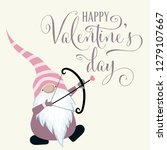 gnome with cupid bow. valentine'... | Shutterstock .eps vector #1279107667