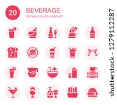 beverage icon set. collection... | Shutterstock .eps vector #1279112287