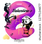 valentines day party flyer... | Shutterstock .eps vector #1279134877