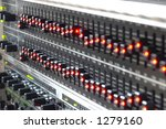 Angled aspect of graphic equalizer - stock photo