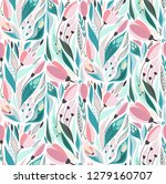 Stock vector lovely bright tender rustic folk art herbal floral spring pattern of hand drawn tulips with leaves 1279160707