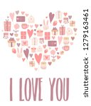 vector image of a heart made... | Shutterstock .eps vector #1279163461