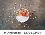 top view of yogurt in a wooden... | Shutterstock . vector #1279163494