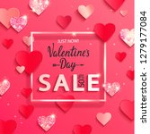 valentines day sale banner with ... | Shutterstock .eps vector #1279177084