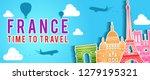 blue banner of france famous...   Shutterstock .eps vector #1279195321