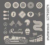 vector icon set of vintage car... | Shutterstock .eps vector #127920074