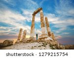 the citadel in the city of Amman in Jordan in the middle east at the sunset. Temple of Hercules of the Amman Citadel (Jabal al-Qal