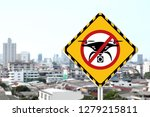 No Drone Zone Warning Sign On...