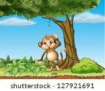 Illustration Of A Monkey Under...