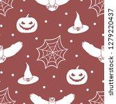 halloween 2019 vector seamless... | Shutterstock .eps vector #1279220437