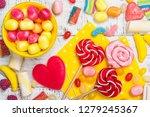 pink candies  lollipops and... | Shutterstock . vector #1279245367