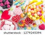 pink candies  lollipops and... | Shutterstock . vector #1279245394