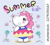 happy unicorn girl in bikini... | Shutterstock .eps vector #1279250167
