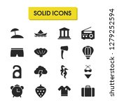 summer icons set with suitcase  ...
