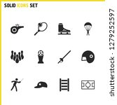 activity icons set with skate ...