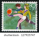 switzerland   circa 1990  stamp ... | Shutterstock . vector #127925747