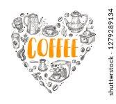 coffee. shape of a heart.... | Shutterstock .eps vector #1279289134
