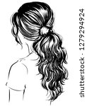 woman with messy ponytail | Shutterstock .eps vector #1279294924