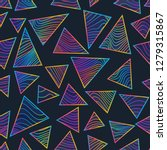rainbow triangles with neon... | Shutterstock .eps vector #1279315867