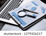 office workplace with magnifier ... | Shutterstock . vector #1279326217
