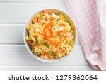 bowl of coleslaw. vegetable... | Shutterstock . vector #1279362064