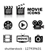 movie black glossy icon set....