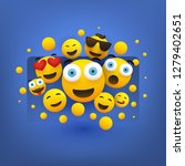 various smiling happy yellow... | Shutterstock .eps vector #1279402651