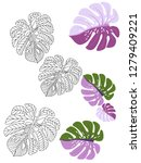 vector tropical pattern with... | Shutterstock .eps vector #1279409221