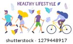 healthy lifestyle. different... | Shutterstock .eps vector #1279448917