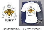 honey bee golden embroidery... | Shutterstock .eps vector #1279449934
