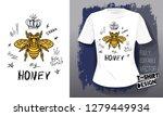 honey bee golden embroidery... | Shutterstock .eps vector #1279449934
