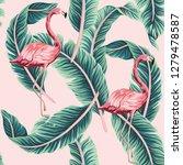 tropical vintage pink flamingo  ... | Shutterstock .eps vector #1279478587