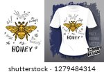 honey bee golden embroidery... | Shutterstock .eps vector #1279484314