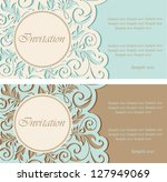 vintage invitations with circle ... | Shutterstock .eps vector #127949069