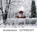 landscape of small town covered ... | Shutterstock . vector #1279502197
